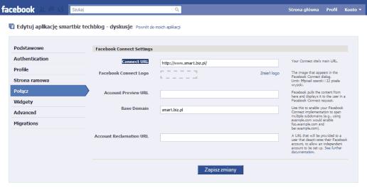 Podstawowy adres strony w polu Connect URL dla aplikacji Facebook komentarzy